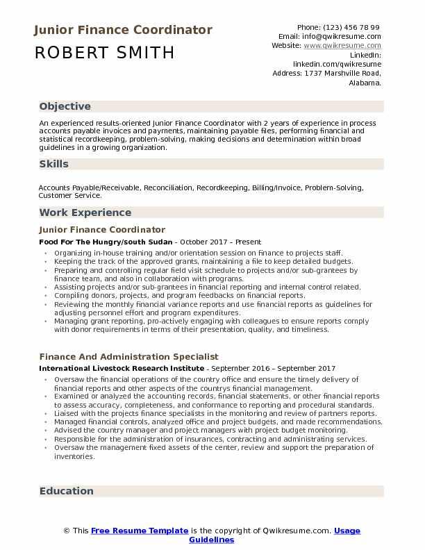 Junior Finance Coordinator Resume Template