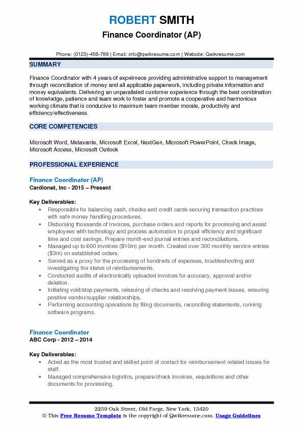 Finance Coordinator (AP) Resume Example