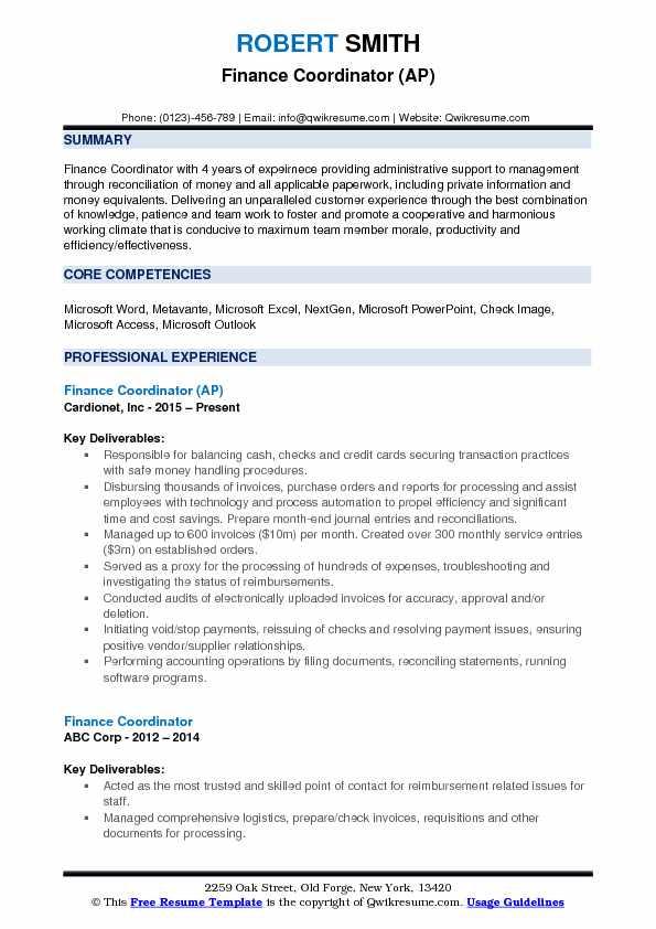 Finance Coordinator (AP) Resume Sample