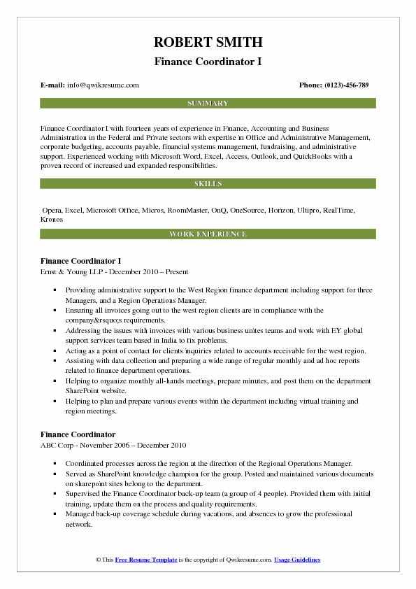 Finance Coordinator I Resume Example