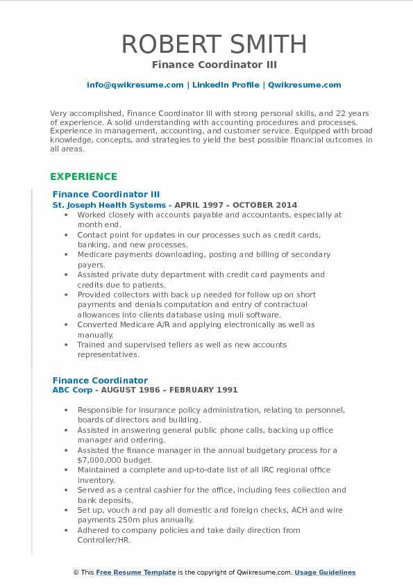 Finance Coordinator III Resume Model