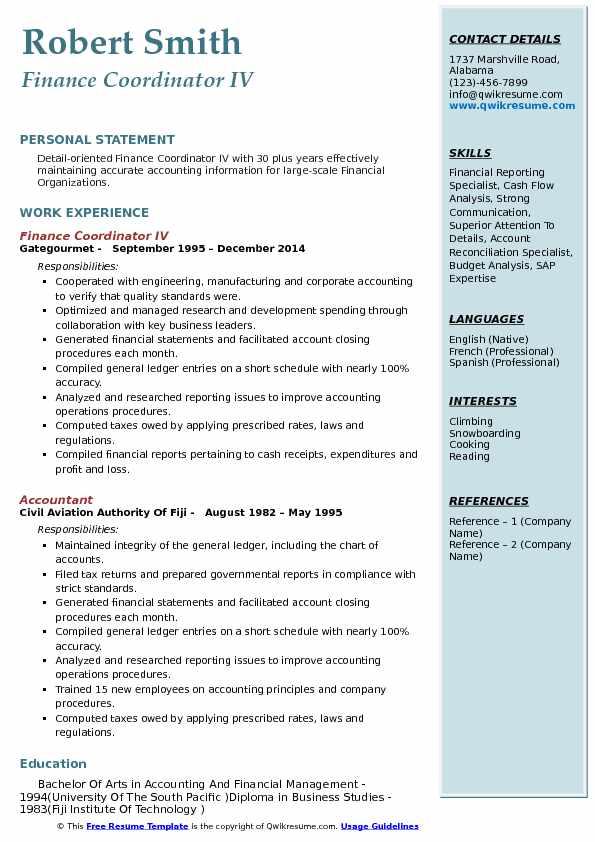 Finance Coordinator IV Resume Example