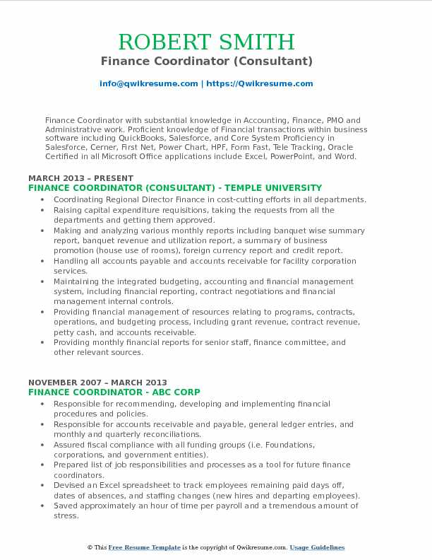finance coordinator consultant resume template