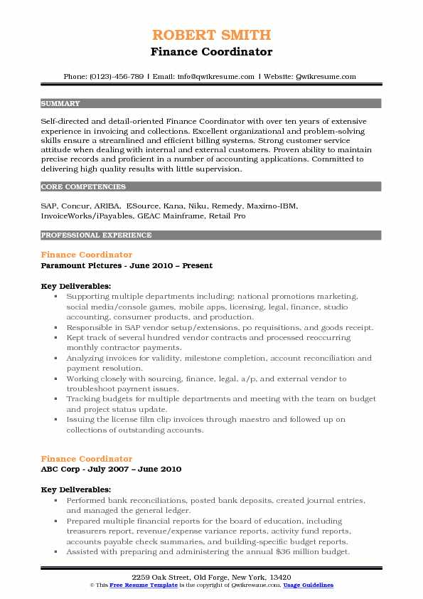 Finance Coordinator Resume Example