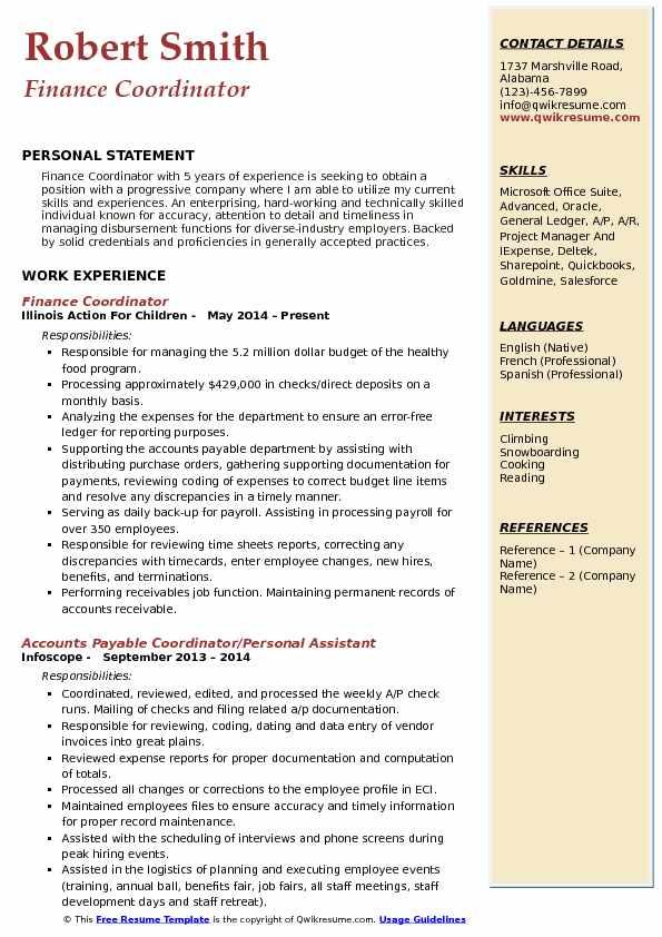 Finance Coordinator Resume Sample
