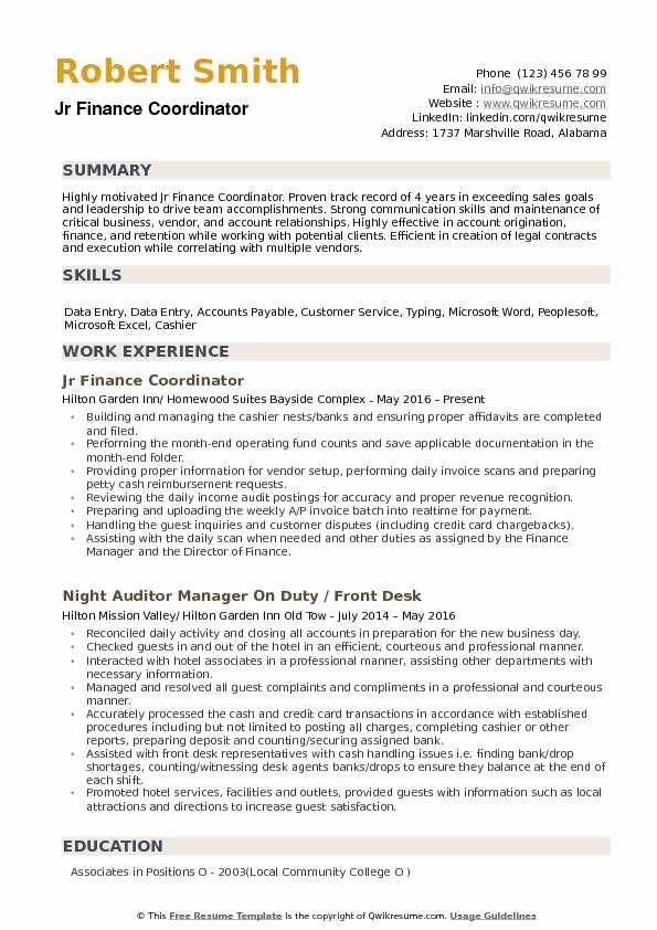 Jr Finance Coordinator Resume Sample