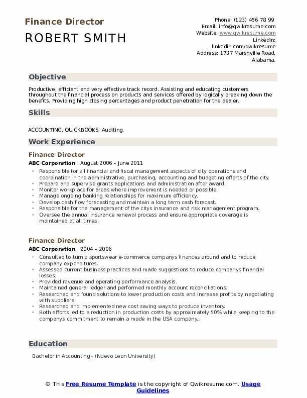 Finance Director Resume Template