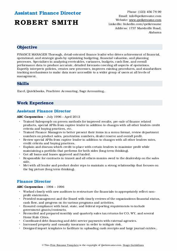 Assistant Finance Director Resume Template