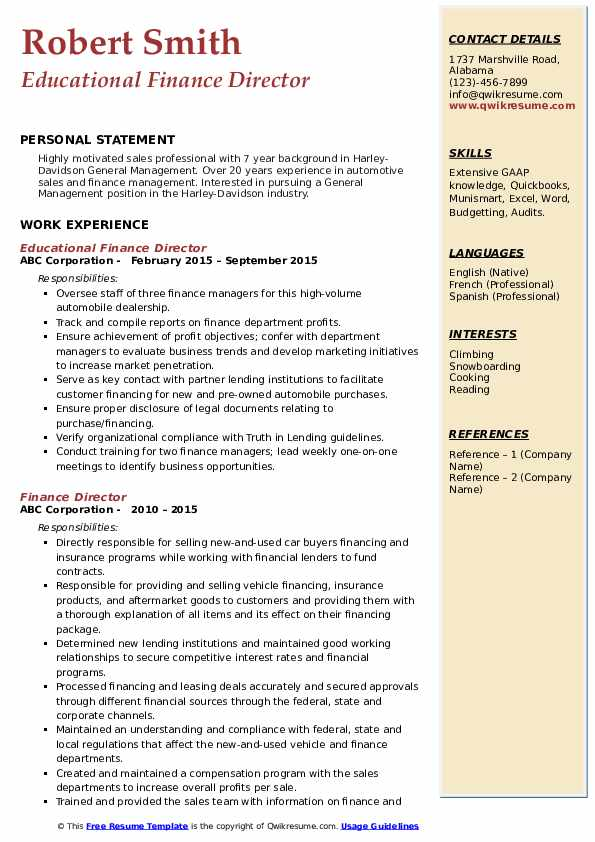 Educational Finance Director Resume Model