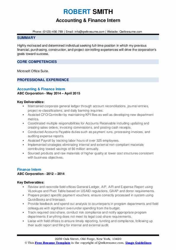 Accounting & Finance Intern Resume Example