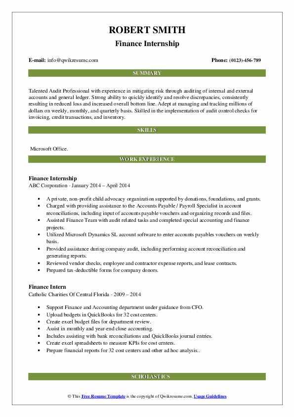 Finance Intern Resume Samples Qwikresume