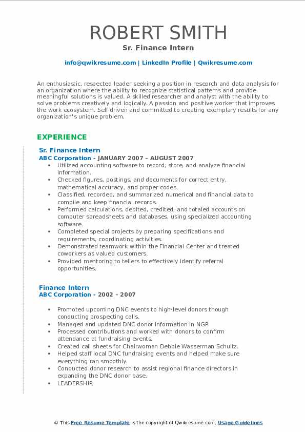 Sr. Finance Intern Resume Example