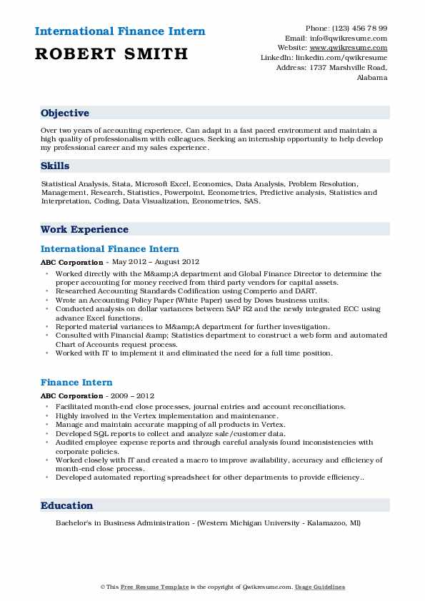 International Finance Intern Resume Example