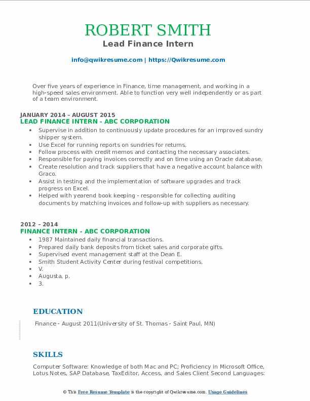 Lead Finance Intern Resume Model