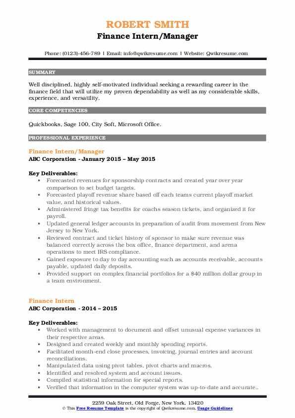 Finance Intern/Manager Resume Format