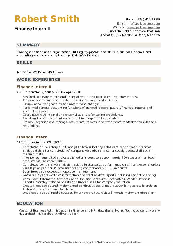Finance Intern II Resume Sample