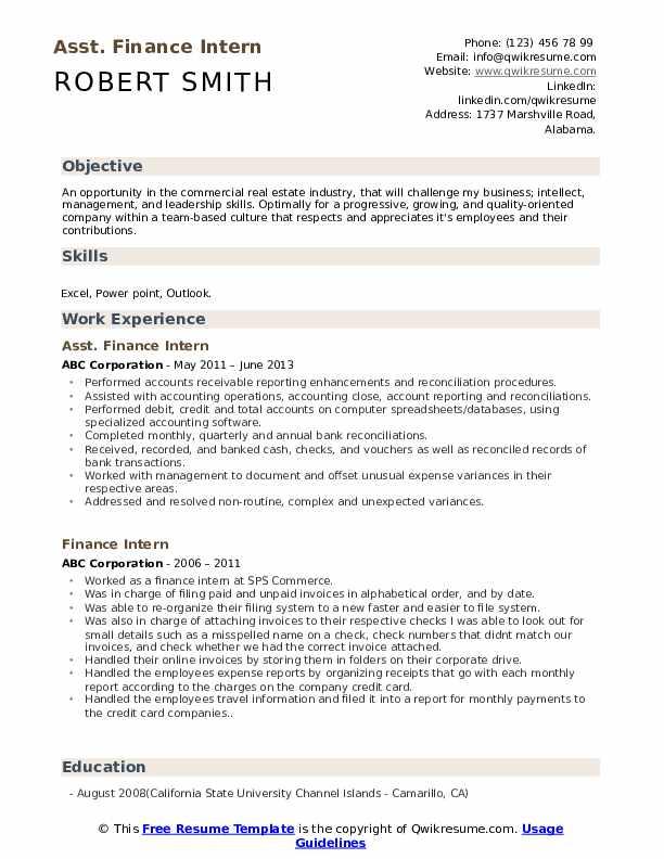 Asst. Finance Intern Resume Model