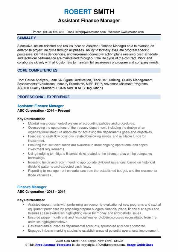 Assistant Finance Manager Resume Format