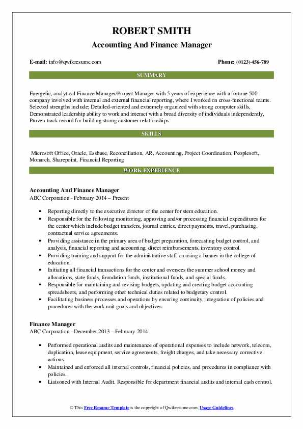 Accounting And Finance Manager Resume Model