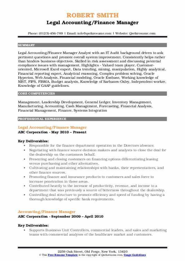 Legal Accounting/Finance Manager Resume Format
