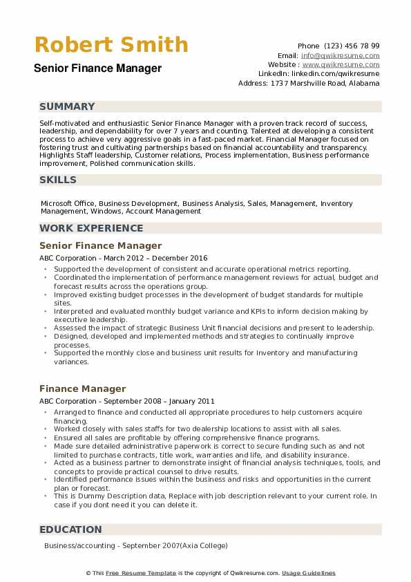 Finance Manager Resume Samples Qwikresume
