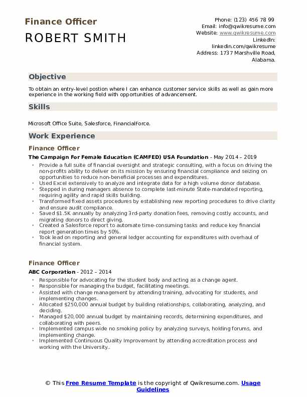 Finance Officer Resume Sample
