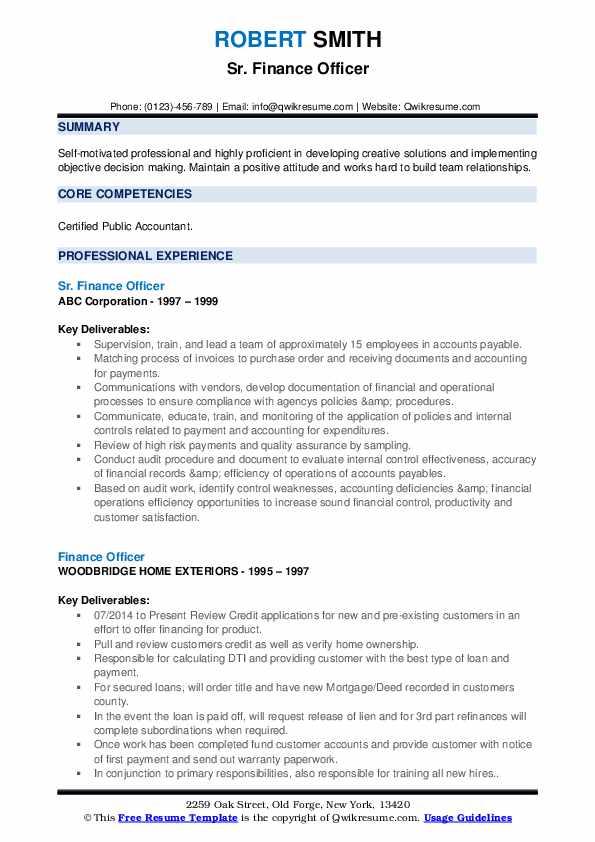 Sr. Finance Officer Resume Format