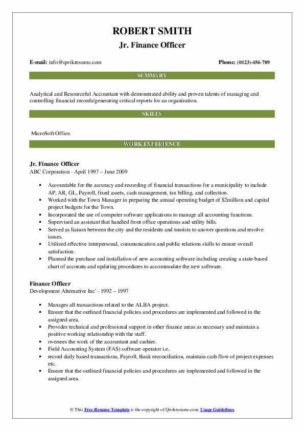 Jr. Finance Officer Resume Format