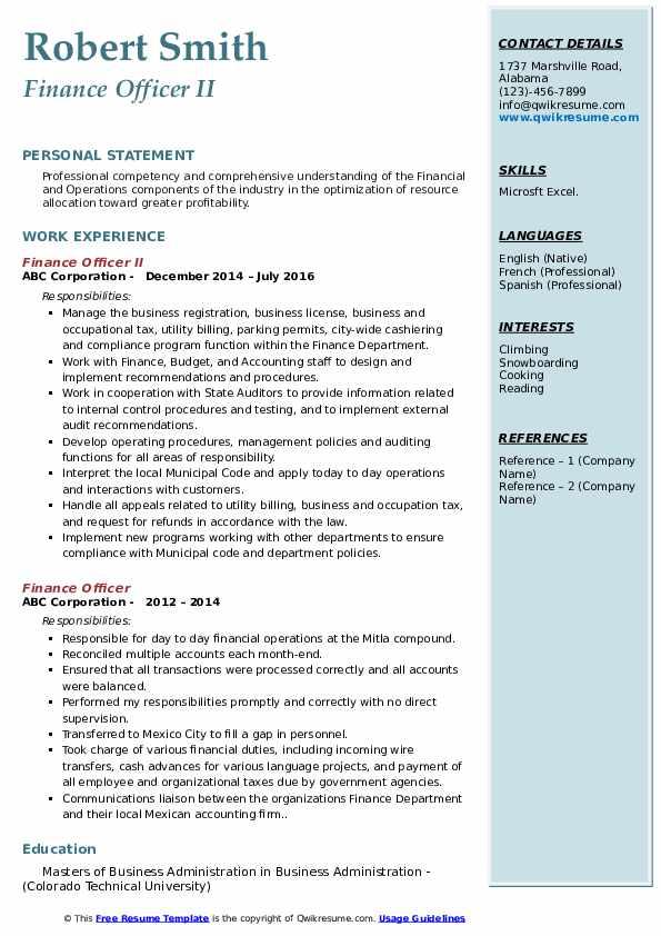 Finance Officer II Resume Sample