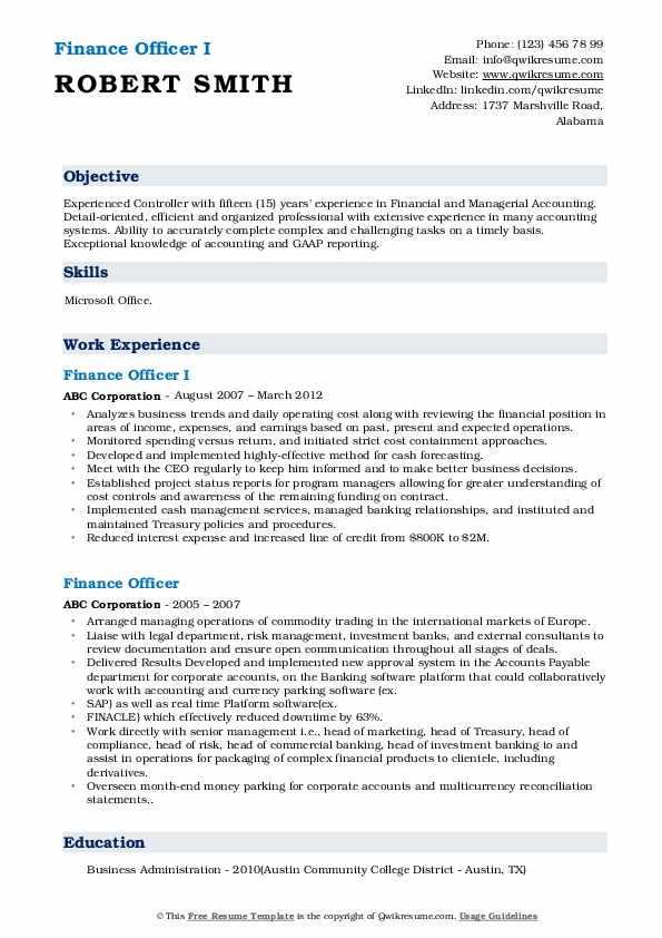 Finance Officer I Resume Model