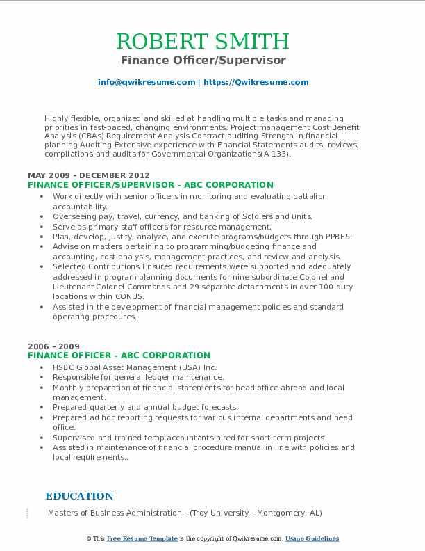 Finance Officer/Supervisor Resume Model