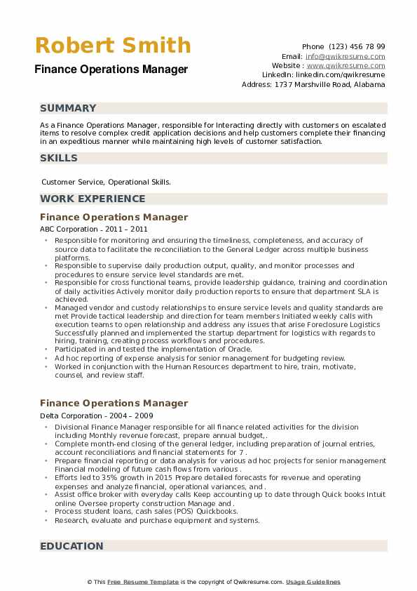 Finance Operations Manager Resume example