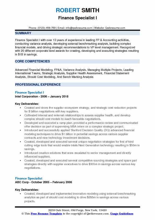 Finance Specialist I Resume Model