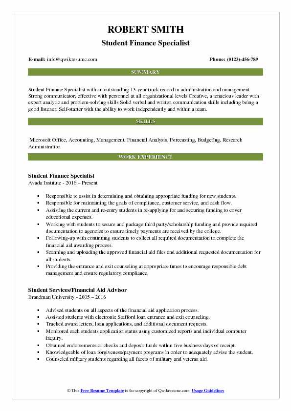 Finance Specialist Resume Samples Qwikresume