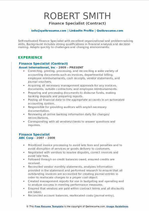 Finance Specialist (Contract) Resume Example