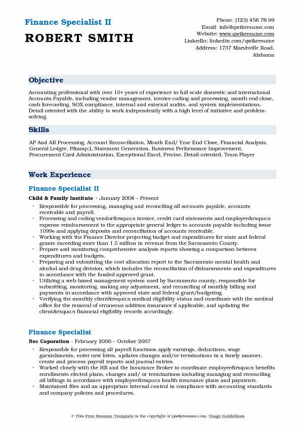Finance Specialist II Resume Sample