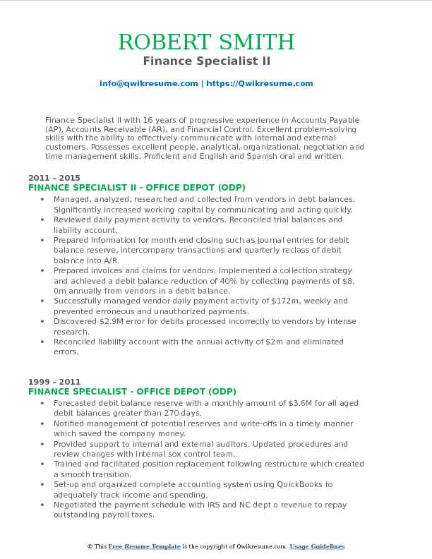 Finance Specialist II Resume Format