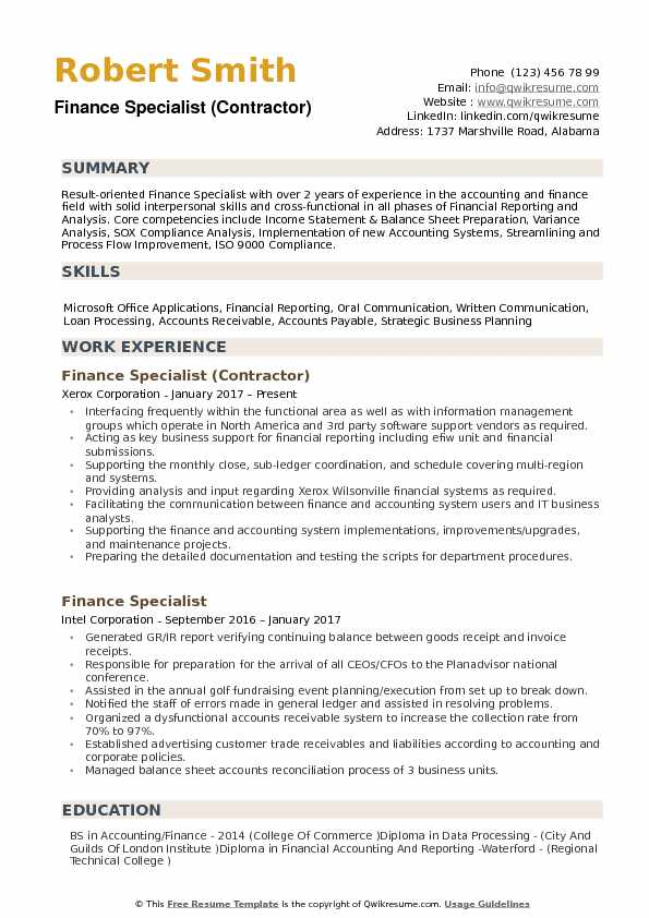 Finance Specialist Resume Samples