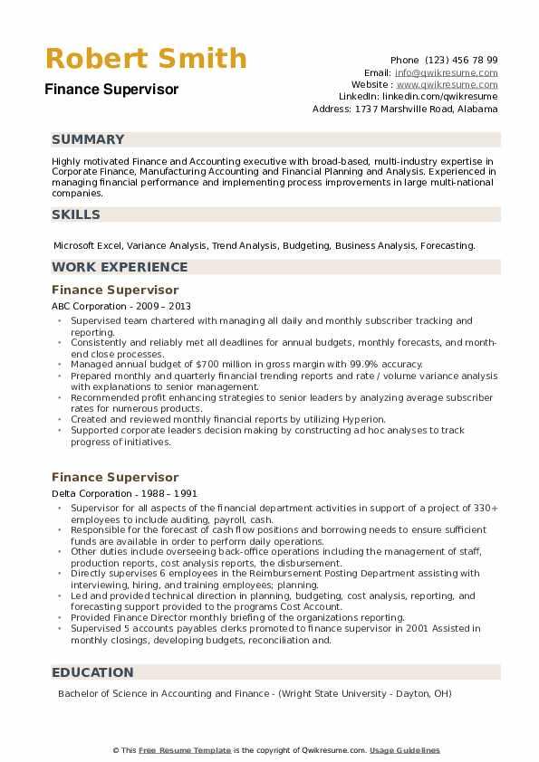 Finance Supervisor Resume example