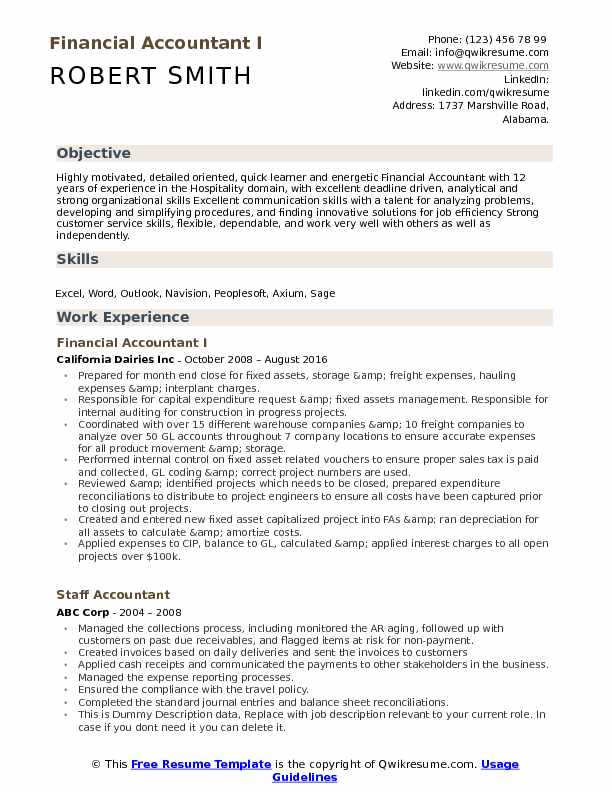 Financial Accountant I Resume Example