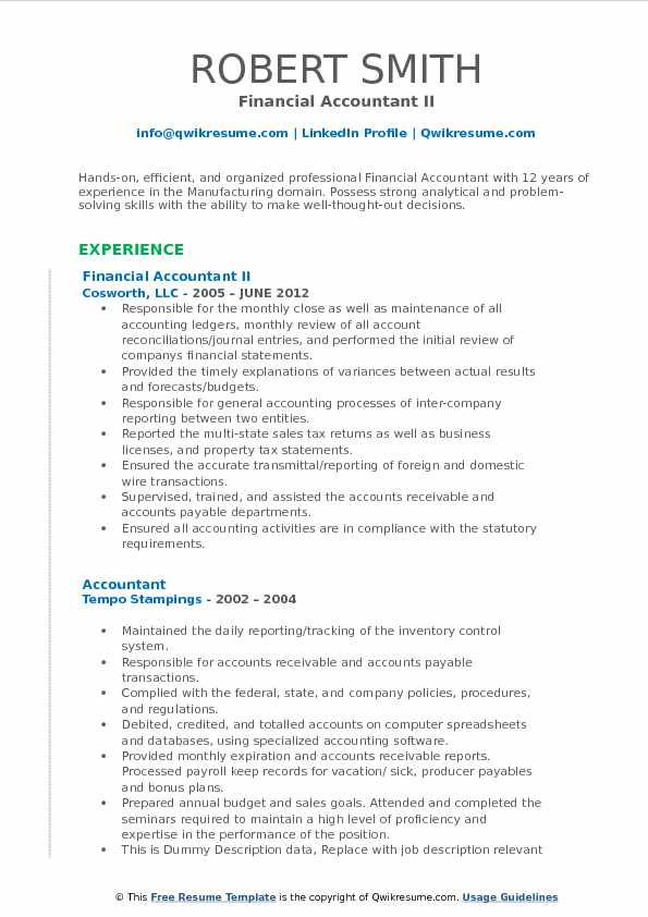 Financial Accountant II Resume Example