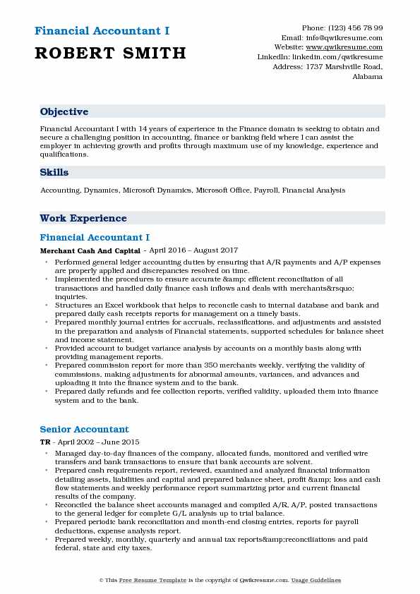 Financial Accountant I Resume Sample