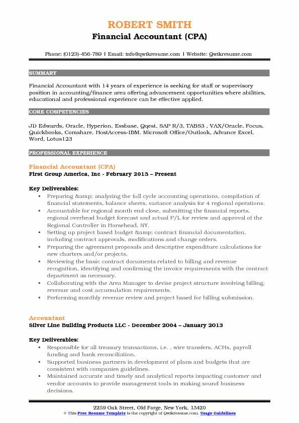 Financial Accountant (CPA) Resume Model