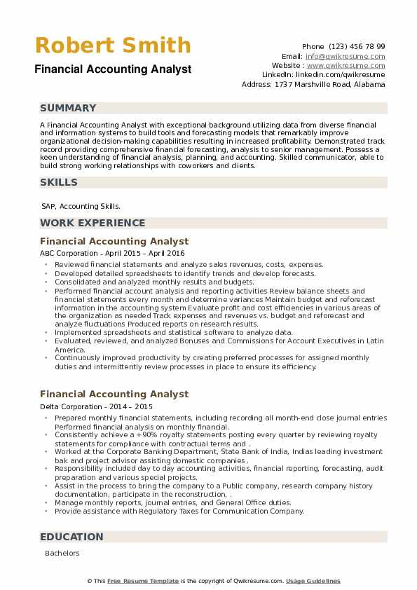 Financial Accounting Analyst Resume example