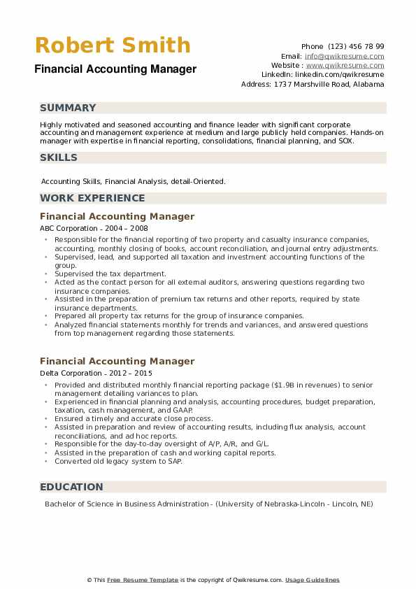 Financial Accounting Manager Resume example