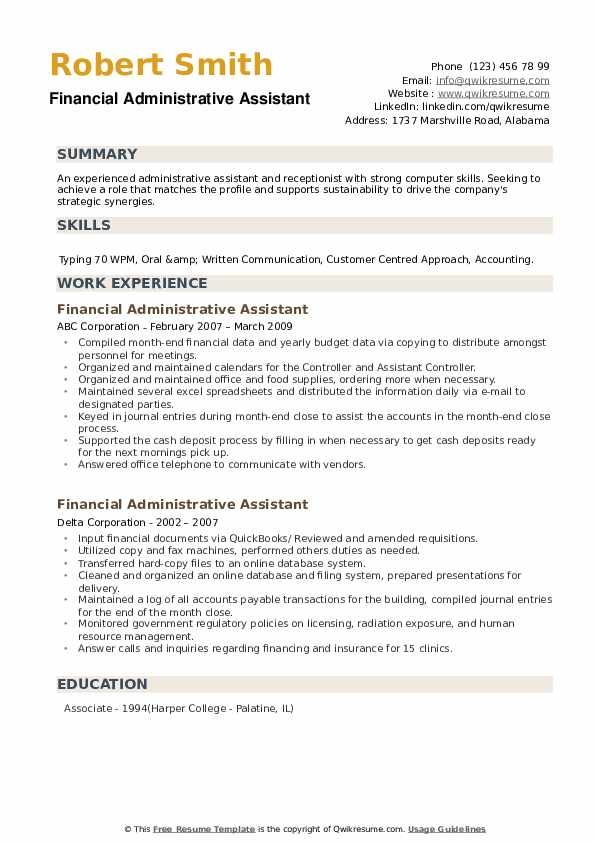 Financial Administrative Assistant Resume example