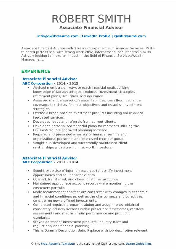 Financial Advisor Resume Samples | QwikResume