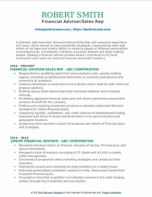 Financial Advisor/Sales Rep Resume Example