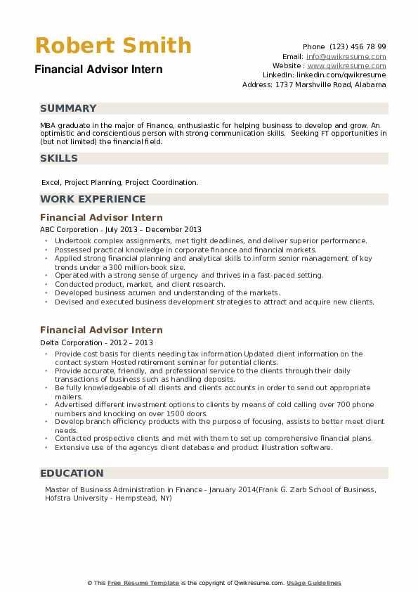 financial advisor intern resume samples  qwikresume