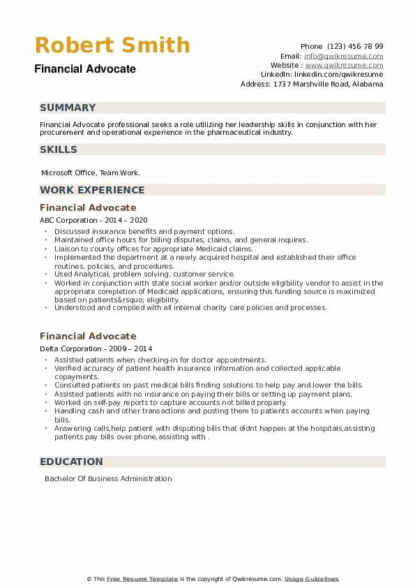Financial Advocate Resume example